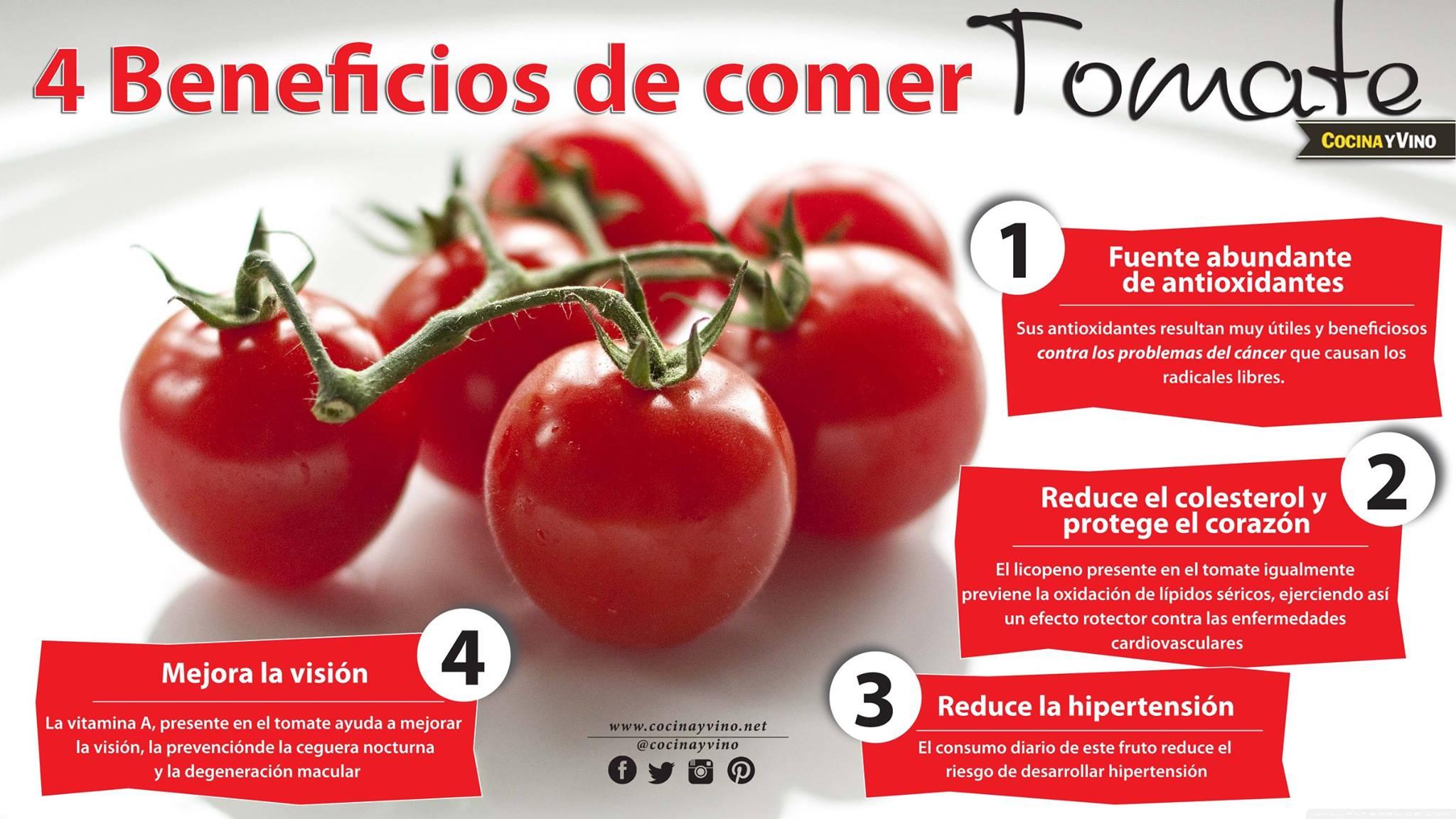 Infografía sobre los beneficios de comer tomate.