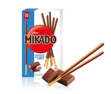 Palitos de galleta con chocolate Mikado.