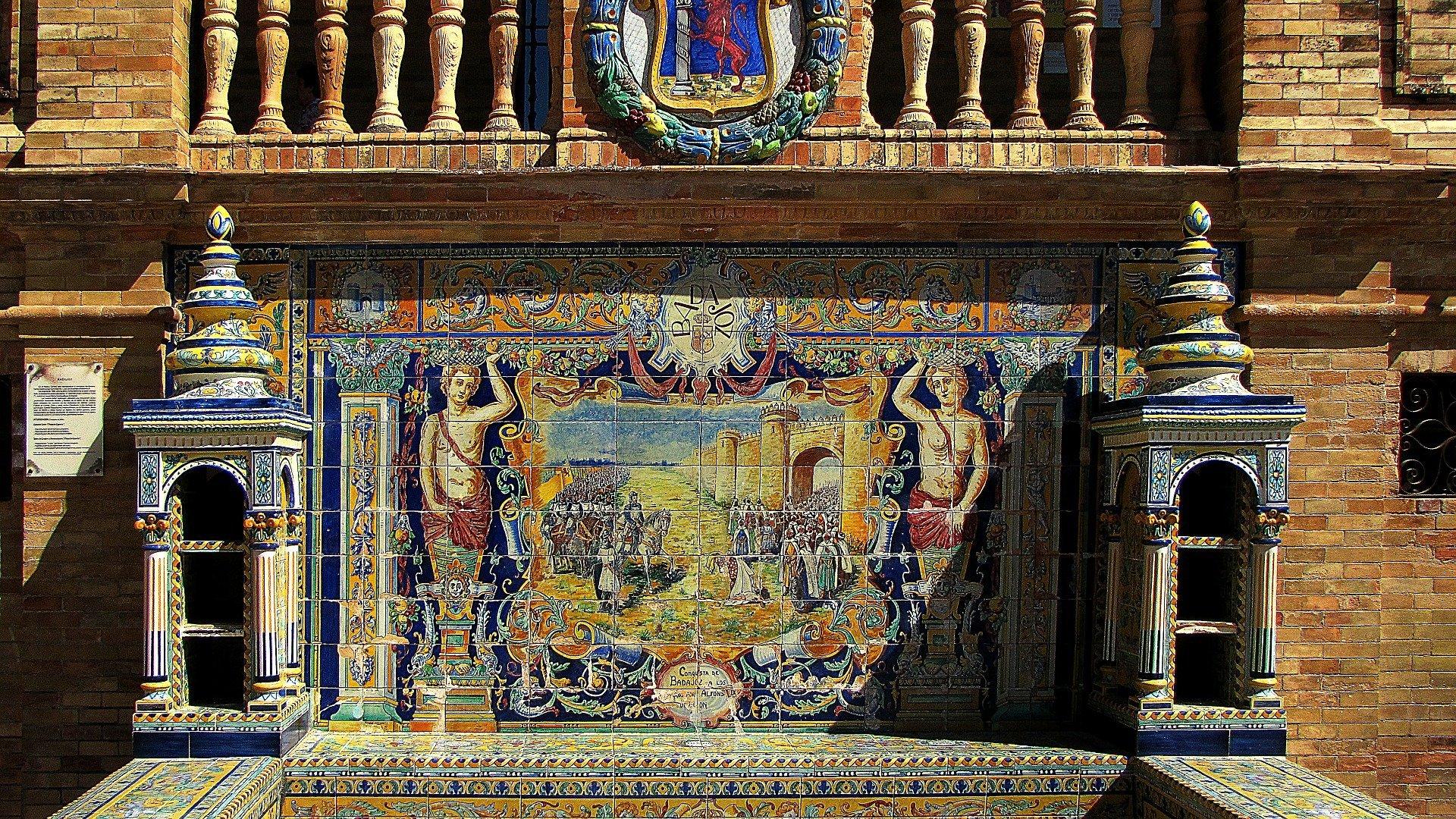 Detalle azulejos sobre Badajoz. Plaza de España, Sevilla