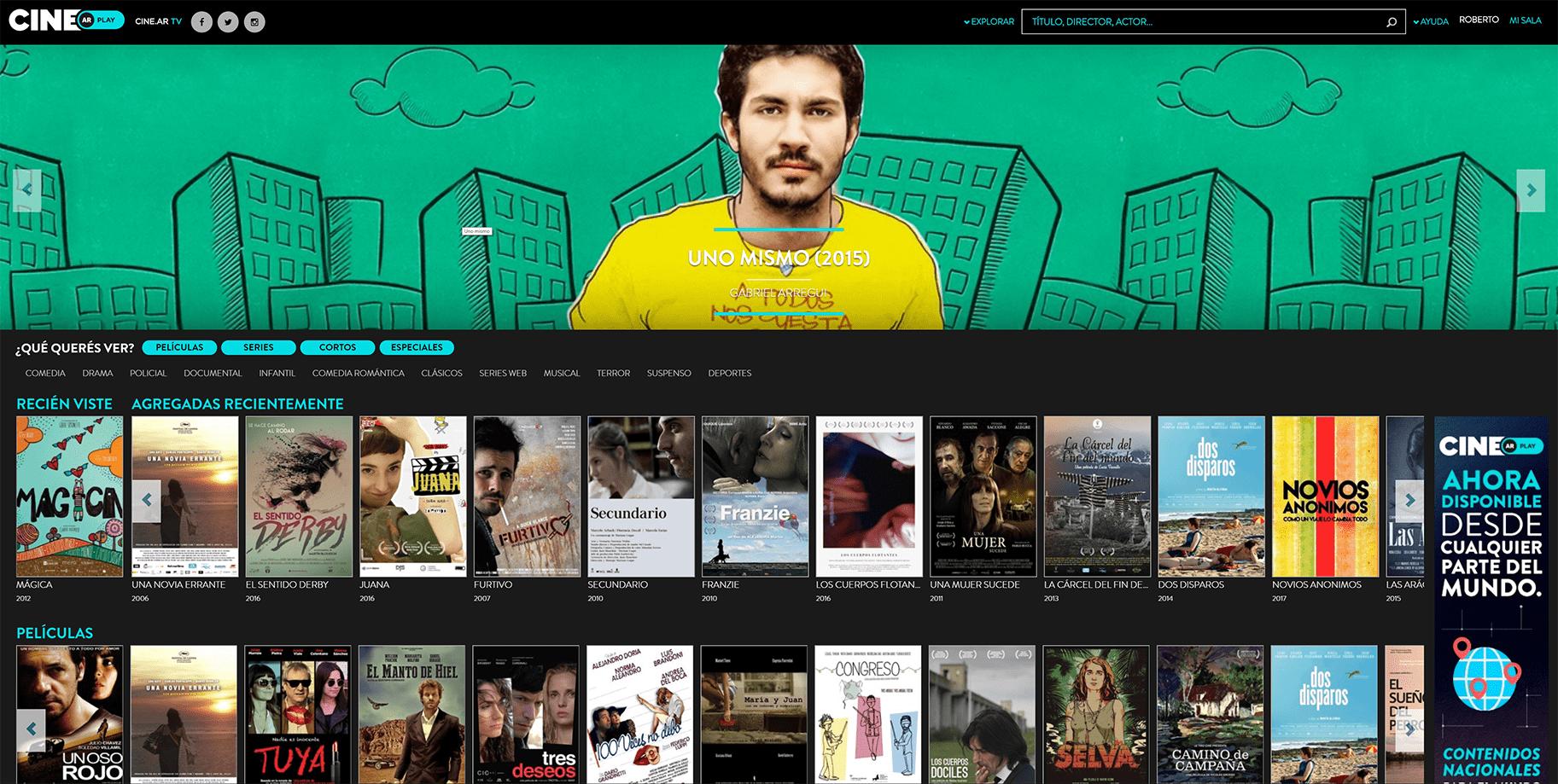 Cine.ar Play, a plataforma online de cinema argentino. Imagem: Divulgação.