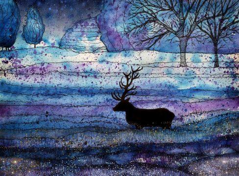 Imagen onírica con un ciervo.