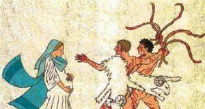 Dos jóvenes usan pieles de cabra con sangre